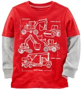 Carter's Boys 4-8 Construction Trucks Mock Layer Tee