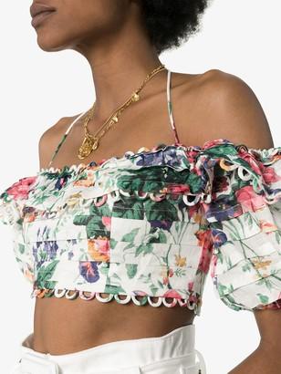 Zimmermann Allia floral off-the-shoulder top