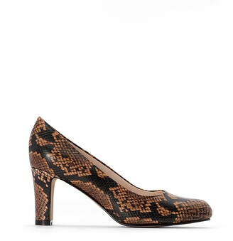 La Redoute Womens Snake Print Leather Wedge Loafers ANNE WEYBURN