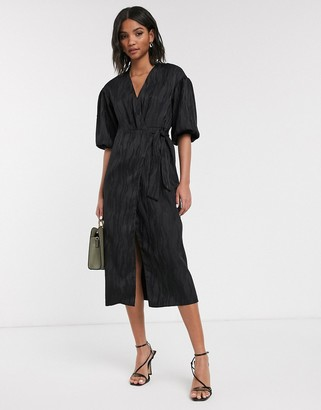 Topshop midi wrap dress in black