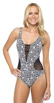 Athena Women's Gold Coast One Piece Swimsuit with Mesh Insets