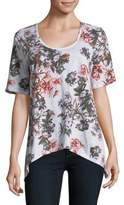 Lord & Taylor Plus Floral Asymmetrical Cotton Tee
