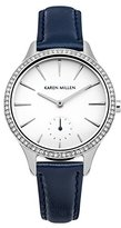 Karen Millen Women's Quartz Watch with White Dial Analogue Display and Blue Leather Strap KM112UA