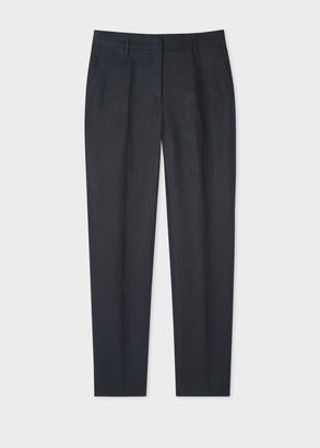 Paul Smith Women's Classic-Fit Navy Linen Trousers