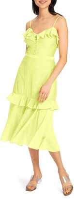 Milly Crinkle Gauze Midi A-Line Petal Dress