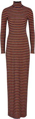 Rosetta Getty Striped metallic-weave gown
