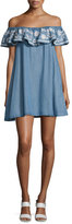 Rebecca Minkoff Dev Chambray Off-the-Shoulder Dress, Light Blue