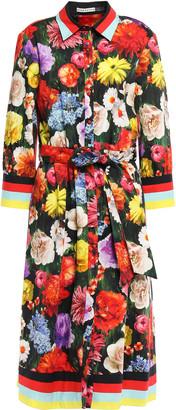 Alice + Olivia Belted Printed Stretch-cotton Midi Shirt Dress