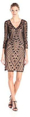 Adrianna Papell Women's V-Neck Beaded Cocktail Dress