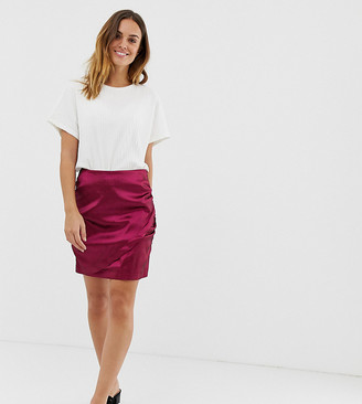 Naf Naf draped rich satin mini skirt