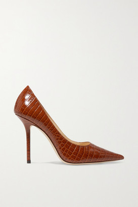 Jimmy Choo Love 100 Croc-effect Leather Pumps - Tan