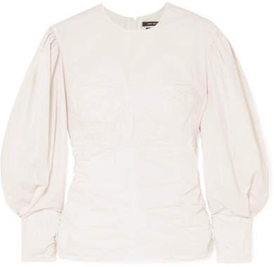 Isabel Marant Maya Ruched Cotton-poplin Top - White