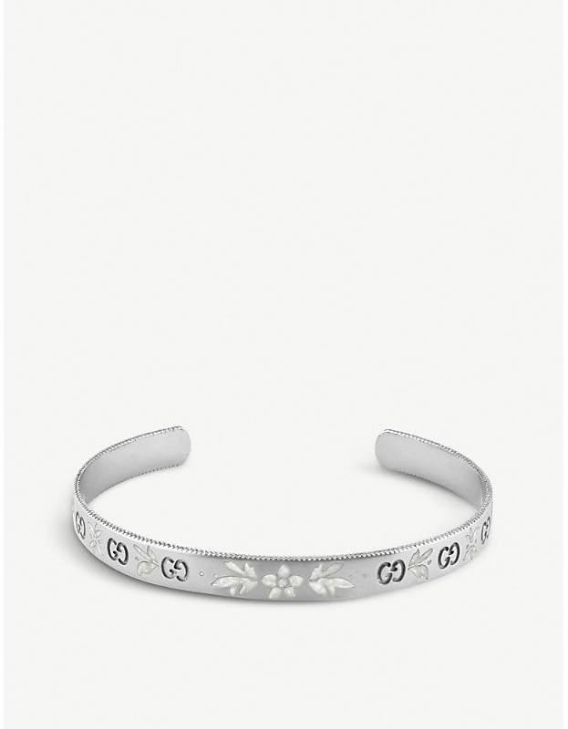 Gucci Icon blossom 18ct white gold bracelet, white