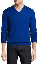 Salvatore Ferragamo Virgin Wool V-Neck Sweater, Royal Blue