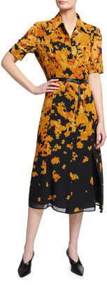 Altuzarra Printed Belted Midi Dress