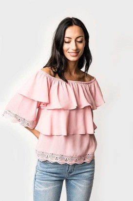 Gibson Off Shoulder Tiered Lace Trim Blouse