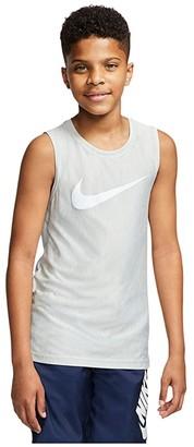 Nike Kids Core Heather Performance Sleeveless Top (Little Kids/Big Kids) (Light Smoke Grey/White) Boy's Clothing