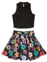 Girl's Miss Behave Savanna Meet & Greet Solid Top & Floral Skirt Set