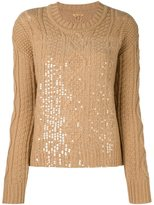 Peter Jensen cable knit sequinned jumper - women - Lambs Wool - S