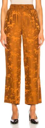 Ganni Silk Jacquard Pants in Caramel Cafe   FWRD