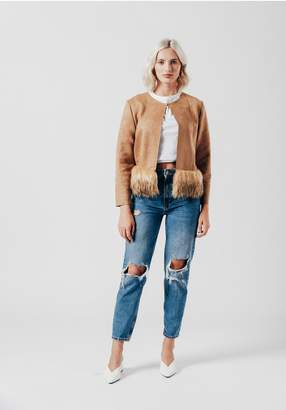 Oeuvre Faux Suede Jacket with Faux Fur Trim
