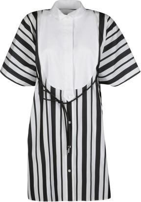 Sacai Black And White Cotton Blend Dress