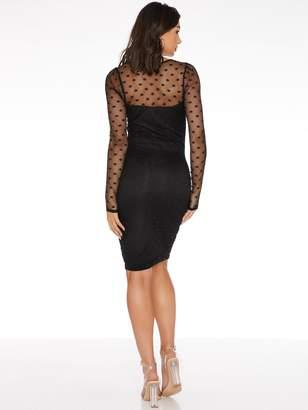 Quiz Mesh Polka Dot Ruched Mini Bodycon Dress - Black
