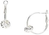 Carole Silvertone Knot-Accent Hoop Earrings