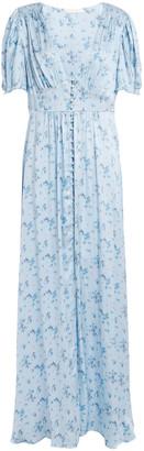 LoveShackFancy Stacy Floral-print Washed Silk-satin Maxi Dress
