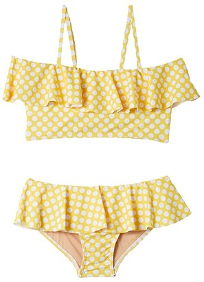 Toobydoo Ruffle Bikini (Toddler/Little Kids/Big Kids) (Yellow Polka Dot) Girl's Swimwear