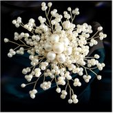 Tians Tian's Pearl Hand-made Freshwater Cultured Pearl Brooch Pin Bling Jewelry Breastpin-white rounded