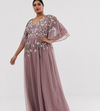 Asos DESIGN Curve flutter sleeve maxi dress with summer floral embroidery-Multi