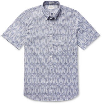 Hartford Slim-Fit Button-Down Collar Printed Cotton Shirt - Men - Blue