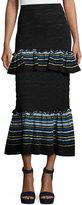 Peter Pilotto Jacquard Peplum Midi Skirt, Navy