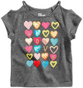 Epic Threads Hearts Cold Shoulder T-Shirt, Little Girls, Created for Macy's