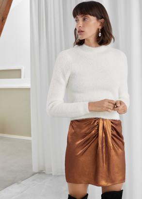 And other stories Draped Metallic Satin Mini Skirt