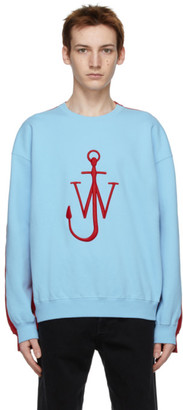 J.W.Anderson Blue and Red Contrast Paneled Logo Sweatshirt