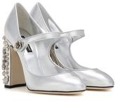 Dolce & Gabbana Embellished Metallic Leather Mary Jane Pumps