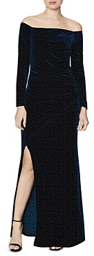 Laundry by Shelli Segal Off-the-Shoulder Long Sleeve Velvet Dress