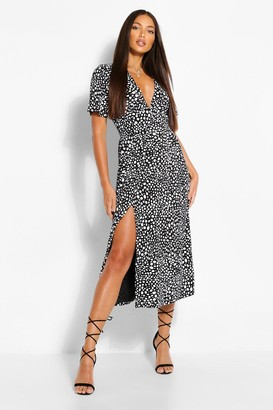 boohoo Tall Woven Spot Print Midi Dress