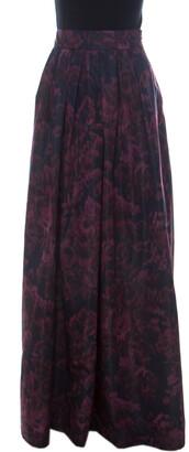 Max Mara Purple Printed Silk Maxi Skirt L