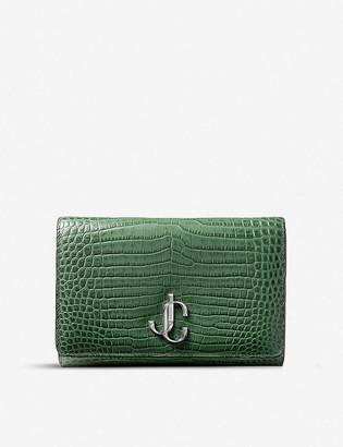 Jimmy Choo Varenne croc-embossed leather clutch