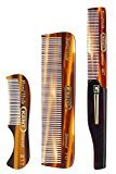 Kent Gentlemen's Comb Set: 81T Beard and Moustache Comb, FOT Pocket Comb, and 20T Folding Pocket Comb with Clip