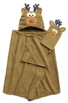ADI Tub Time Tots Reindeer Hooded Kids Bath Wrap with Mitt - 2 Piece Set