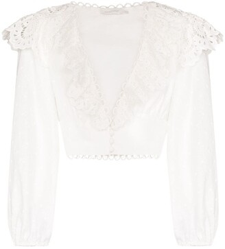Zimmermann Bellitude ruffled cropped blouse