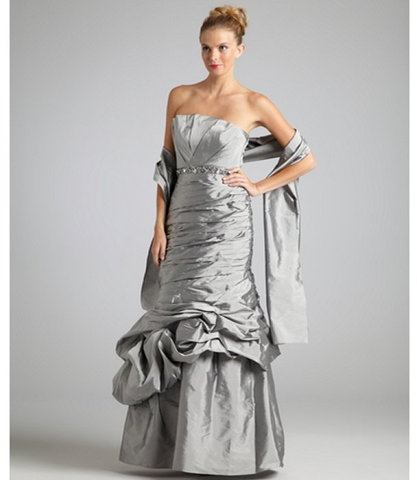 Monique Lhuillier ML silver taffeta strapless beaded waist mermaid gown