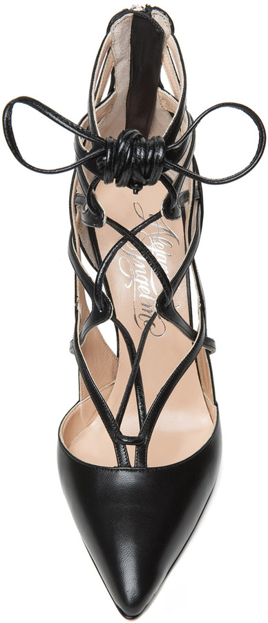 Alejandro Ingelmo Boomerang Calfskin Leather Lace Up Pump in Black