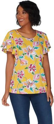 Denim & Co. Floral Print Scoop Neck Top with Flutter Sleeve