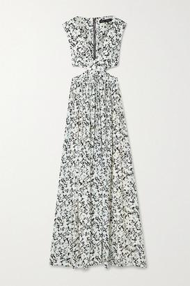 Proenza Schouler Cutout Floral-print Crepe De Chine Maxi Dress - Sand