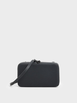 Charles & Keith Boxy Textured Twist Lock Crossbody Bag